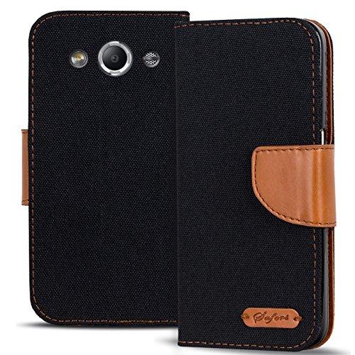 Conie Textil Hülle kompatibel mit Samsung Galaxy Xcover 2, Booklet Cover Schwarze Handytasche Klapphülle Etui mit Kartenfächer