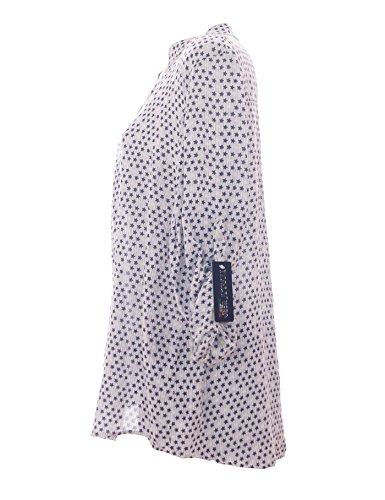 Moda Italy Damen Bluse mit Sternen V-Ausschnitt und Langen Ärmel mit Knopfriegel  Fischerhemd Longbluse 0f354ca387