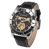 Armbanduhr - schwarzes Lederarmband ManChDa Skeleton automatische mechanische Uhr Sport Style + Geschenkbox