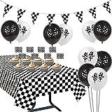 JOYMEMO Décorations de Fête Course Drapeau à Damier Nappe Noir et Blanc Pennant Bannière Cupcake Toppers pour Garçons Décorations d'anniversaire Fête Prénatale
