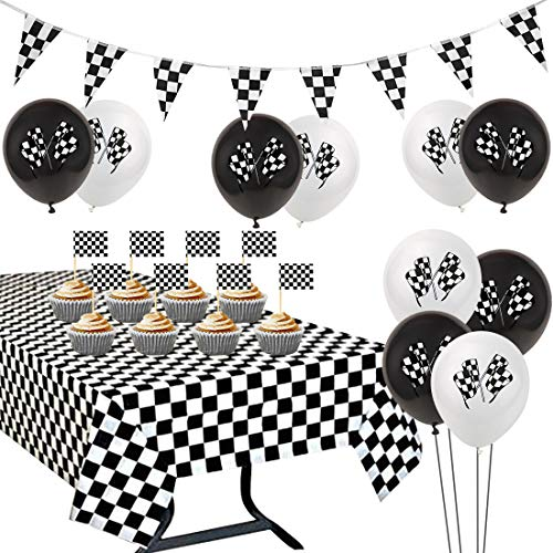 JOYMEMO Racing Party Supplies Karierte Flagge Black & White Tischdecke Wimpel Banner Cupcake Toppers für Jungen Geburtstag Baby Shower Dekorationen