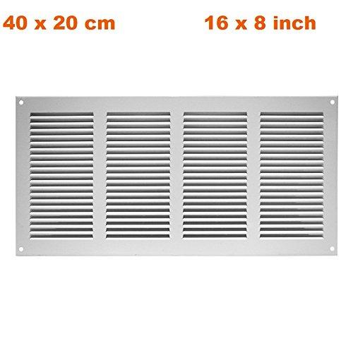 Lüftungsgitter Abschlussgitter Insektenschutz Abluft Zuluft Gitter 400x200mm , weiß, MR4020