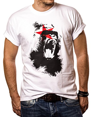 Cool gorilla t-shirt for men MONKEY white size XXL (A Bathing Ape Clothing)