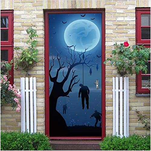 Newberli Hängende Leiche Runde Moon Nights Blue Home Decor Abnehmbare Wand Tür Aufkleber Halloween Party Shop Bar Glas Fenster Dekoration