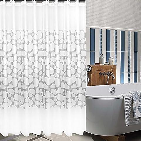 Abstract Rideau de douche en tissu imperméable Rideau de salle de bain épaissir anti-moisissures Tissu Rideau de bain, pierre/blanc, Polyester, blanc, 32*72