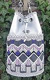 Hobo-Tasche im ethnischen Stil Silber Beuteltasche Crossbody Tasche mit ornament Gehäkelte Zubehör Bestickt Sack Ledertasche Duffle für teenager