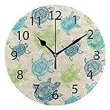 XiangHeFu Horloge Murale Ronde de 25,4 cm de diamètre silencieuse colorée Tortue de mer décorative pour la Maison, Le Bureau, l'école