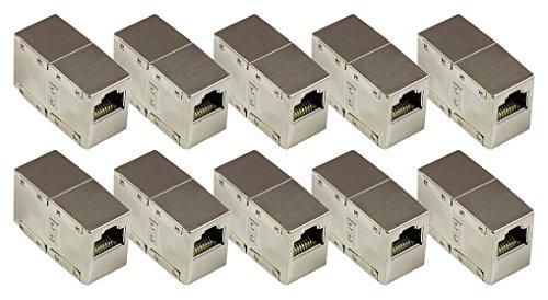 .6 RJ45 Patchkabel-Kupplung Adapter - 10er SPARSET - RJ45 Buchse an Buchse - VOLLGESCHIRMT im METALL-Gehäuse - Internet LAN Kabel Verbinder Adapter RJ45 Kupplung -Verlängern Sie Ihr Ethernet DSL Patchkabel (Metall-buchsen)