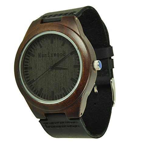 Munixwood Holzuhr mit Lederband schwarz Neuheit Holzarmbanduhr NEU mit Box Ebenholz