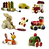 CeeJay Toys Colorful Wood Cars and Baby Toys with Wheels, Set of 8