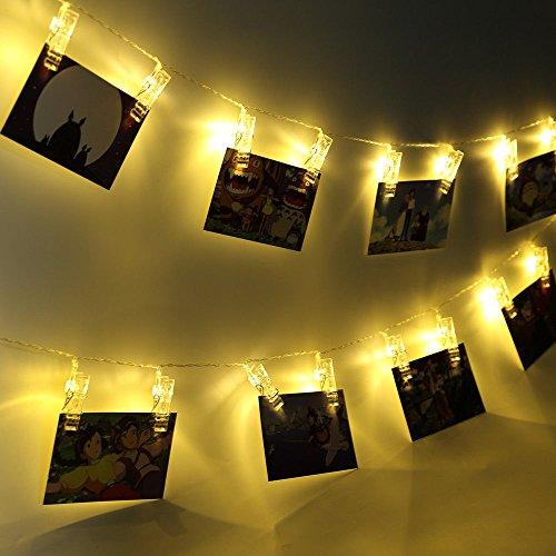 HogarTech 40 LED Foto Clips Lichterkette Batterie Lichterkette für Außen/Innen LED Fotos String Lights für Garten Party Fest 7 Meter Warmweiß Lichterkette für Hängende Bilder, Notizen, Artwork