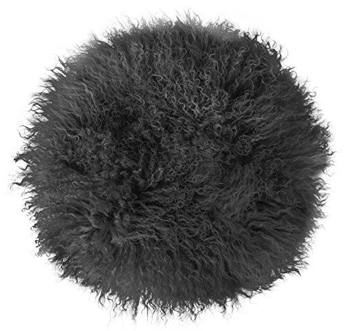 """MAGMA """"Pamina"""" Sitzauflage aus 100% Tibetlamm ca. Ø 35 cm, ECHTES Lammfell in Premium Qualität Farbe """"anthrazit"""""""