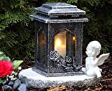 Tomba lampada Cuore incl.Tomba candela 34,0cm ♥ Grab gioielli tomba luce tomba Cuore Griglia Gabbione Cimitero Tomba candela Angelo Custode il dolore