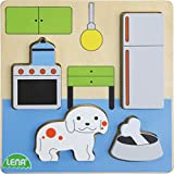 Lena 32141 - Holzpuzzle Küche, Kinderpuzzle mit Grundplatte 14 x 14 cm und 4 Puzzleteilen, Teile und Platte aus 100% FSC Holz, Puzzlespiel für Kinder ab 18+ Monaten, Legespiel für Kleinkinder