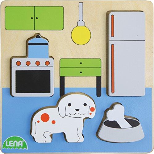 Lena 32141 - Holzpuzzle Küche, Kinderpuzzle mit Grundplatte 14 x 14 cm und 4 Puzzleteilen, Teile und Platte aus 100{e8dd07aa5fc218b9d80a9cf19edd75da231a85cad465be1c87685b39abf3b028} FSC Holz, Puzzlespiel für Kinder ab 18+ Monaten, Legespiel für Kleinkinder