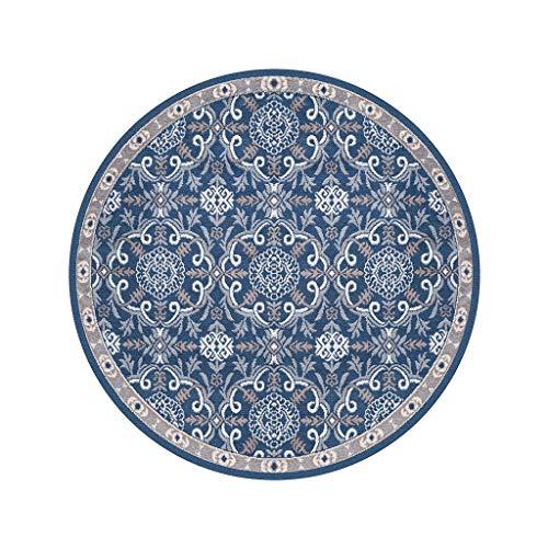 6 Runde Bereich Teppich (Dekoration Retro-Bereich Teppich Runde Teppich Wohnzimmer/Schlafzimmer / Restaurant Yoga-Matte Computer Stuhl Kissen Rutschfeste Dekoration blau Leicht zu reinigen (größe : 200cm))