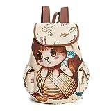 Zedo Cat Printing Backpack for Teen Boys Girls Backpack for Teenage Girls Canvas Backpack for School Size 39x28x11cm