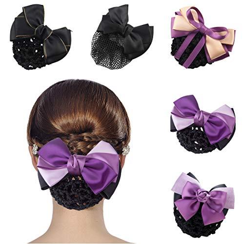 Suweor Upo 5 PC Haarclip mit Haarnetz Haarklammer Haarspange Pferdeschwanz Schleife, Haarspange Bun Cover Hairnet Damen Bowknot, Netz Haarspange Bun Cover Set für Damen und Mädchen (Lila)