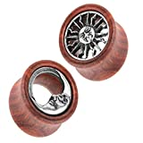 Piersando 1 Paar Ohr Plug Flesh Tunnel Piercing Ohrpiercing Organic Double Flared Holz mit Sonne und Mond Inlay 10mm