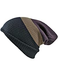 Unisex Mens Ladies 4 in 1 Fully Reversible Striped Slouch beanie skull cap. 4 different looks from 1 hat