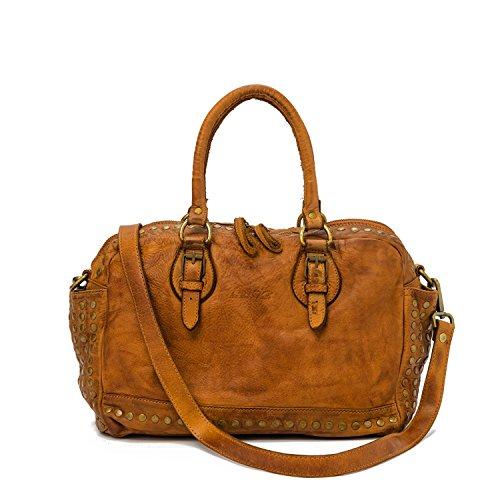 Ira del Valle, Frauentasche, echtes Leder, Vintage, Lima-Modell, Made in Italy (Cognac) (Kroko Furla)