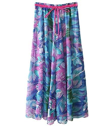 YuanDian Women's Plus Size Bohemian Style Elastic Waist Drawstring Long Skirts Retro Literature And Art Style 3D Printed Floral Chiffon Loose Swing Beach Maxi Full Skirt