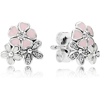 dc52e7417 Stonebeads Poetic Blooms Stud Earrings in 925 sterling silver with clear  cubic zirconia stones and enamel