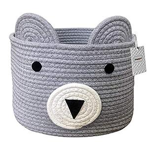 Inwagui Baumwolle Seil Korb Baby Aufbewahrungskörbe Bär Wäschekorb Faltbare Kinder Aufbewahrungsbox für Spielzeug Kinderzimmer Dekokorb – Grau