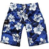 YoungSoul Herren Badeshorts Sandstrand Shorts Streifen Bermudashorts mit Blumen-Print S-XXL