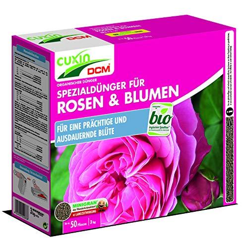 Cuxin Bio Rosendünger für ca. 50 Pflanzen⎜auch für blühende Blumen⎜✅+Bodenanalyse-Gutschein (3,0 Kg)