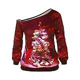 SEWORLD Weihnachten Vintage Christmas Damen Frohe Weihnachten Frauen Weihnachten Langarm Wapiti Bluse Sweatshirt Pullover Casual Tops Bluse Shirt(X5-rot,EU-34/CN-S)