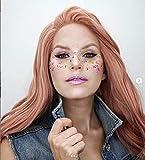 IMSTYLE Perruque Rose Lace Front Synthétique Perruque Pour Femme Long Cheveux Bouclé Rose Orange Naturel Style Haute Densité 66 CM