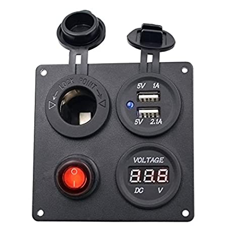 Auto Auto Boot Schalter - Kingwo Rocker Switch Panel Auto Auto Boat Marine Aluminium Switch Board USB Voltmeter Kombination Panel mit 1 x Panel, 4 x Edelstahl