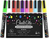 Chalk Pens - Pack of 10 neon colour markers - Use on Whiteboard, Chalkboard, Window, Blackboard - 3mm Reversible Fine Tip