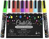 Chalkola Marqueurs Craie - Lot de 10 couleur - Utilisables sur tableau blanc, tableau noir, fenêtre, ardoise - Feutres à Encre Liquide base aqueuse effaçable avec un chiffon humide - Pointe fine 3mm