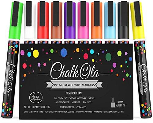 (Kreidestift – 10er Pack neonfarbene kreidemarker - Für Whiteboard, Kreidetafel, Fenster, Tafel, Bistros – 3mm Kugelspitze)