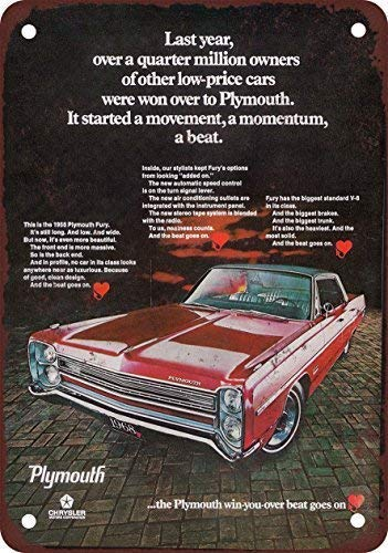 Toddrick 1967 Plymouth Fury Zinn schicke Zeichen Vintage-Stil Retro Küche Bar Pub Coffee Shop Dekor 8
