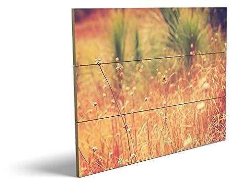 Auf dem Feld, qualitatives MDF-Holzbild im Drei-Brett-Design mit hochwertigem und ökologischem UV-Druck Format: 80x60cm, hervorragend als Wanddekoration für Ihr Büro oder Zimmer, ein Hingucker, kein Leinwand-Bild oder (Feld 48 Tor)