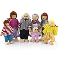 Sixcup Wooden Furniture Dolls House Family Miniature Set 7 People Puppet Doll Toy for Kid Child (Muti)