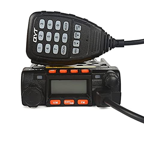QYT KT8900 Mini Dual Band Car Transeiver, VHF/UHF 136-174/400-480MHz 25W/20W Mobile Two-Way Radio Walkie Talkie, Black