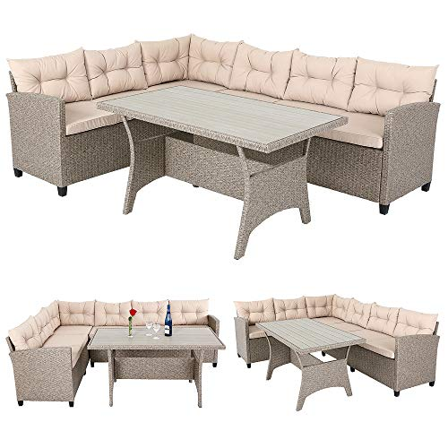 Deuba Poly Rattan Sitzgruppe Ecklounge I 7cm Dicke Auflagen I WPC Tischplatte I Grau Beige I 340cm Sitzgarnitur Garten