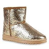 Stiefelparadies Schlupfstiefel Damen Glitzer Stiefeletten Warm Gefüttert Winter Schuhe 125306 Gold 37 Flandell