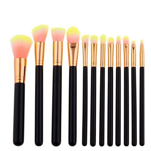 Honestyi 12pcs Pro Outil de maquillage Ensemble de brosses cosmétiques Kit complet (F)