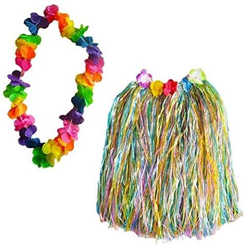 Hawaii Hula Mädchen Gras Rock & Blume Lei Girlande Kostüm 2-tlg Satz