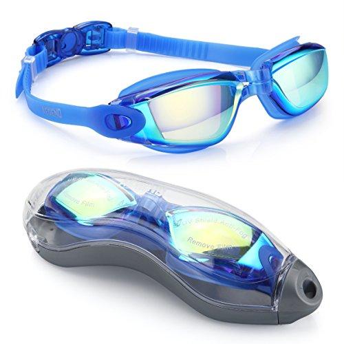 Aegend Triathlon-Schwimmbrille, verspiegelt, dicht, Anti-Beschlag-Schutz, UV-Schutz, inklusive Schutzhülle, für Damen, Herren, Jugendliche, Kinder, blau und schwarz, 04-Blue(Mirrored Lenses)