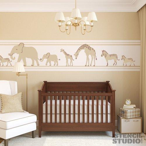 the-stencil-studio-ltd-giant-safari-animal-stencil-set-mum-and-baby-elephant-giraffe-and-zebra-stenc