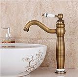 Hiendure Laiton un trou robinets d'évier lavabo cuisine salle de bain grands robinets, laiton antique
