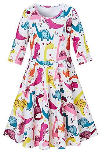 Funnycokid Kleidung für Mädchen Kleider drucken Dinosaurier schönen Sommer Kostüm Kinder Party Ballroom Pageant 3/4 Ärmel Rundhals Dress up für 4-5 Jahre (Dinosaurier Dress Up Kostüm)