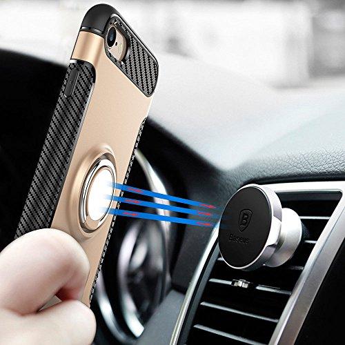 UKDANDANWEI Apple iPhone 8 Hülle mit 360 Grad Full Body Ring Ständer, Hybrid Dual Layer Defender Handyhülle Case [Shock Proof] für Apple iPhone 8 - Schwarz Rot