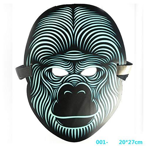 Queta LED Beleuchtung Soundkontroll Maske Halloween Scary Cosplay Maske Leuchtenden EL Draht Grimasse Leuchtmaske Fest Karneval Christmas Party Kostüm - Led Draht Kostüm